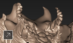 The Twist feature in Mudbox software creates a swirled effect